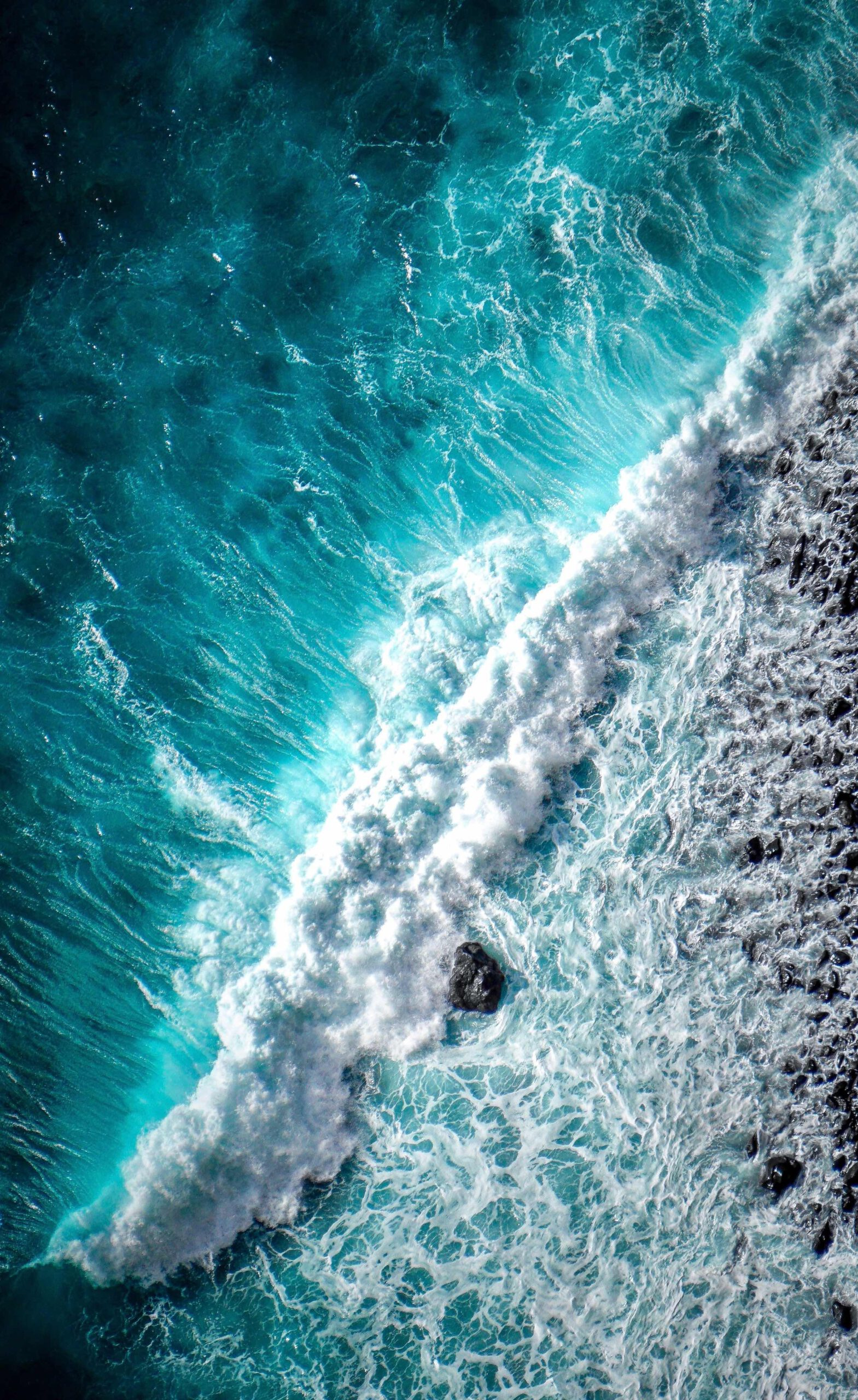 Picture of bright blue ocean from above